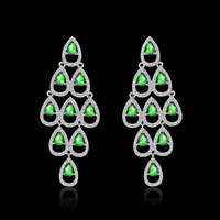 4 Colors Christmas Trees Big Earrings For Women Wedding Jewelry With Green AAA CZ Austria Crystal