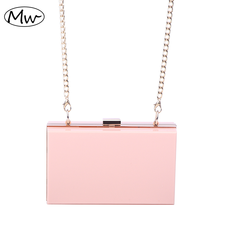 New 2018 Acrylic Transparent Clutch Bag Chain Box Bag Mini Women Messenger Bag Party Day Clutch Purse Wallet Four Colors 265 женская обувь