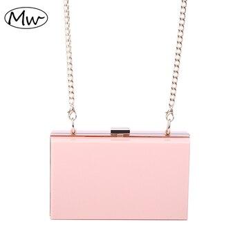 New 2019 Acrylic Transparent Clutch Bag Chain Box Bag Mini Women Messenger Bag Party Day Clutch Purse Wallet Four Colors 265