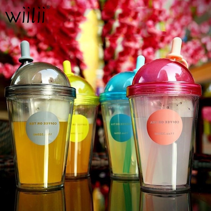 Creative Plastic Juice Drinking Straws Cup Double Coffee Milk Tea Portable Water Bottle Party Cocktail Smoothie Soda Drinkware