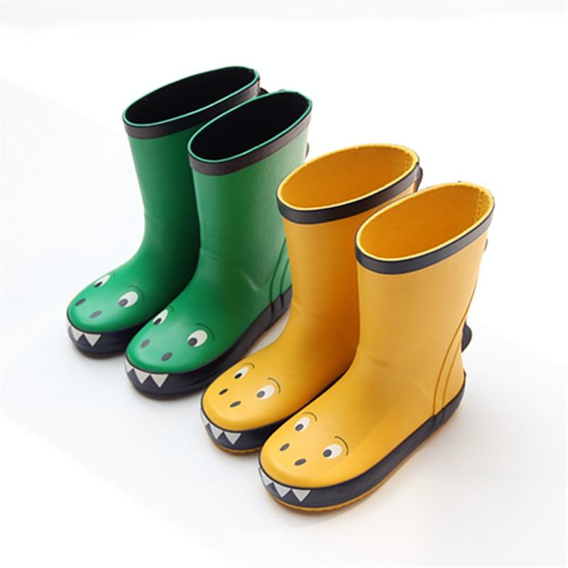 Bottes de pluie pour enfants mode en caoutchouc doux beaux enfants chaussures de pluie unisexe imperméable petit dinosaure bébé garçon fille Tollder bottes de pluie