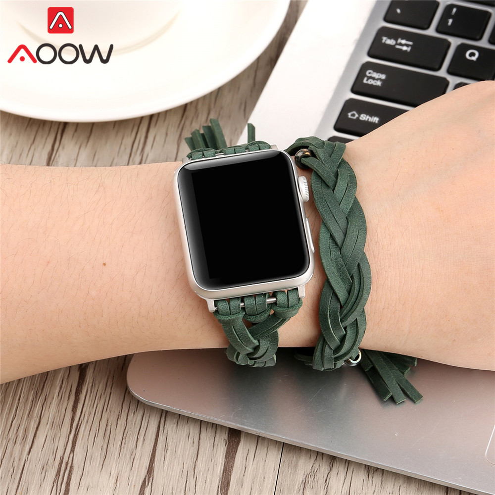 Braided Leather Watchband For Apple Watch 38mm 42mm Women Men Adjustable Bangle Replacement Bracelet Strap Band for iwatch 1 2 3 stylish faux leather layered braided bracelet for men