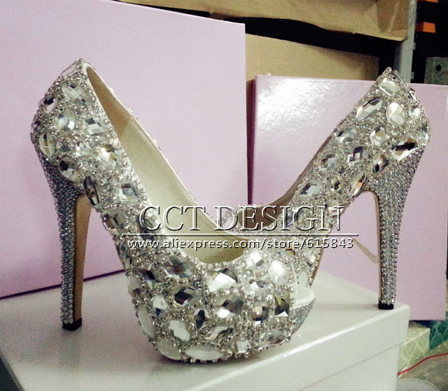 Sexy Ladies Open Toe Silver Rhinestones White Wedding Shoes Sparkly High  Heels Party Prom Shoes Big Size Free Shipping 6f387644fd82