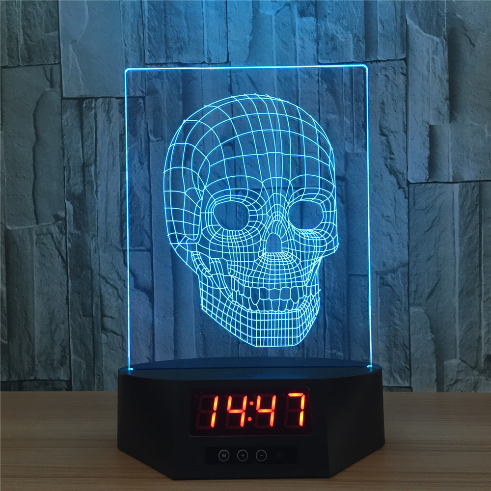 Skull 3D LED Lights Children's nightlight Visual Led Night Light Illusion Mood Lamp 7 Colors Lamp Time With Remote Control three dimensional 3d visual reading lights wood acrylic clear small lamp button type led stereo night light folding book lights