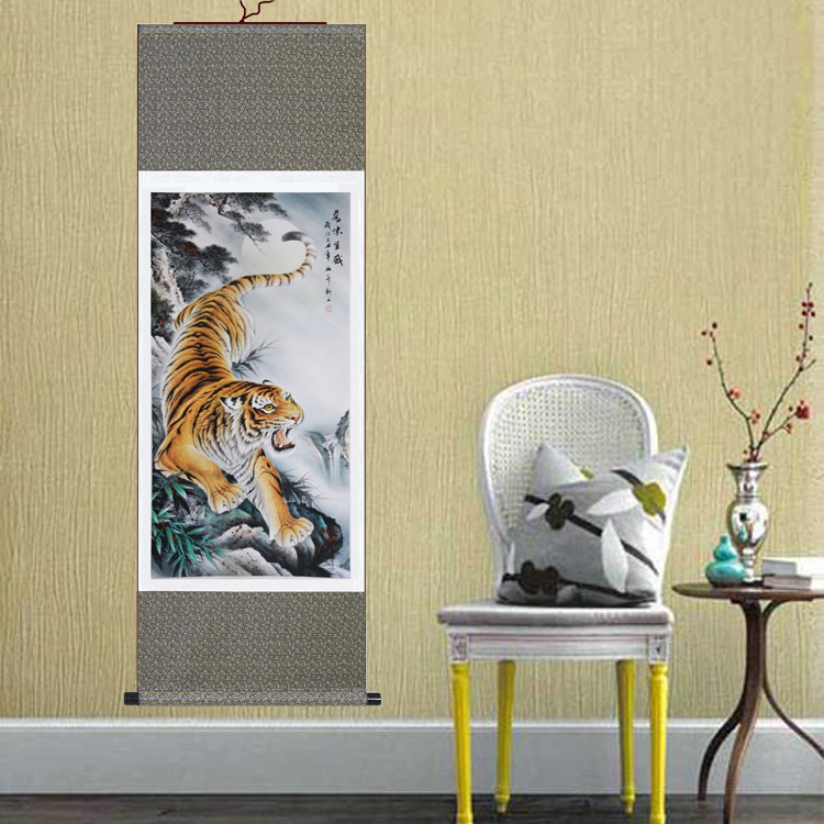 1 Set Large Wall Picture Tiger Chinese Painting Silk Scroll For Home ...