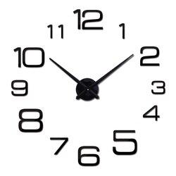 Mới đồng hồ treo tường hiện đại 3D lớn đồng hồ thạch anh Dây đồng hồ phòng khách lớn Đồng hồ trang trí nhà tĩnh tròn DIY dán
