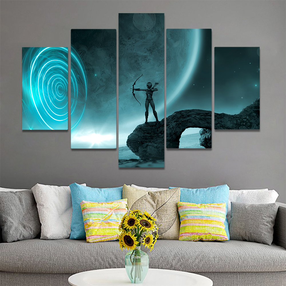 Unframed Canvas Art Painting Archery juvenile Warrior Full Moon Picture Prints Wall Picture For Living Room Wall Art Decoration