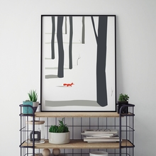 Nordic Landscape Tree With Fox Canvas Painting Winter Poster Print Picture Home Decoration Can Be Customized