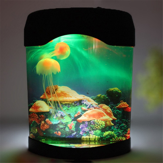 Luces de Noche LED Multicolor Luz LED Jellyfish Tank Mundo Del Mar Natación Mood Night Lamp Light Nightlight Decoración Del Acuario Luz