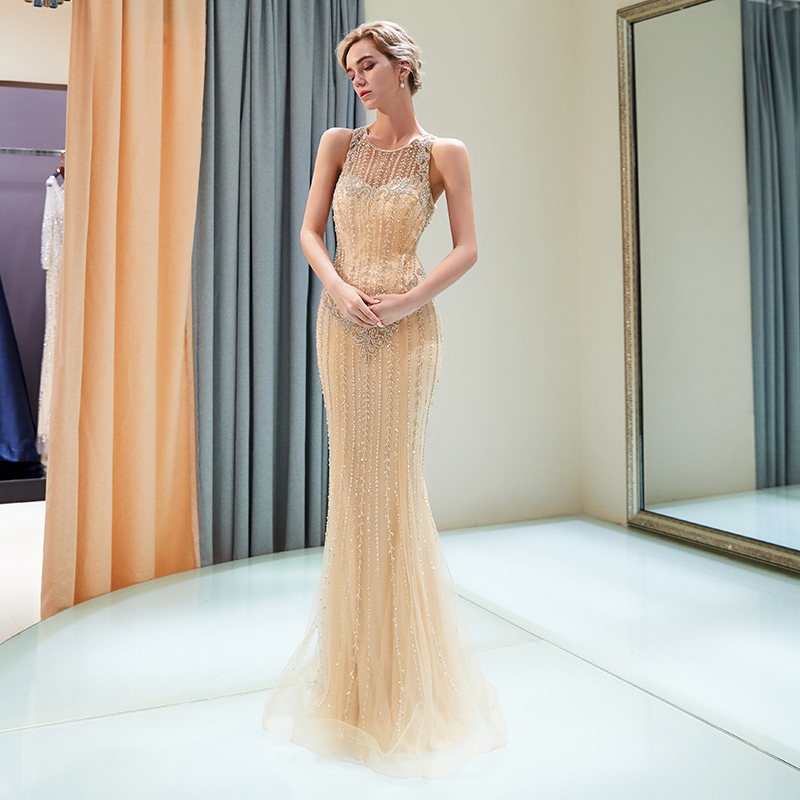 Luxury Evening Dresses Sleeveless Mermaid Style Delicate Beading Gold Color Formal Party Dress Illusion Long Evening