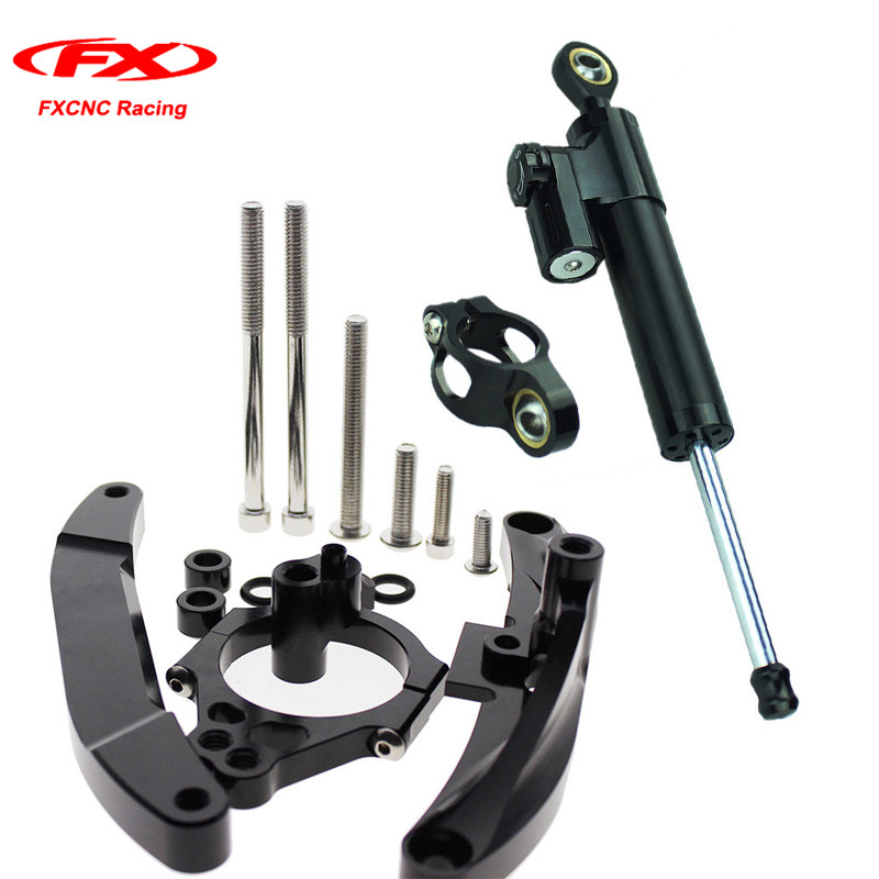 FXCNC Motorcycle Steering Stabilizer Damper + Mounting Brackets for Yamaha FZ1 FAZER 2006-2015 2007 2008 2009 2010 (for Yamaha) aftermarket free shipping motorcycle parts eliminator tidy tail for 2006 2007 2008 fz6 fazer 2007 2008b lack