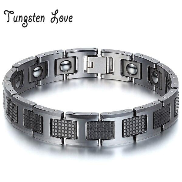 Wholesale Jewelry Black Germanium Health Magnetic Therapy Radiation Fatigue Bracelets Tungsten Bracelet Men bracelet pulsera