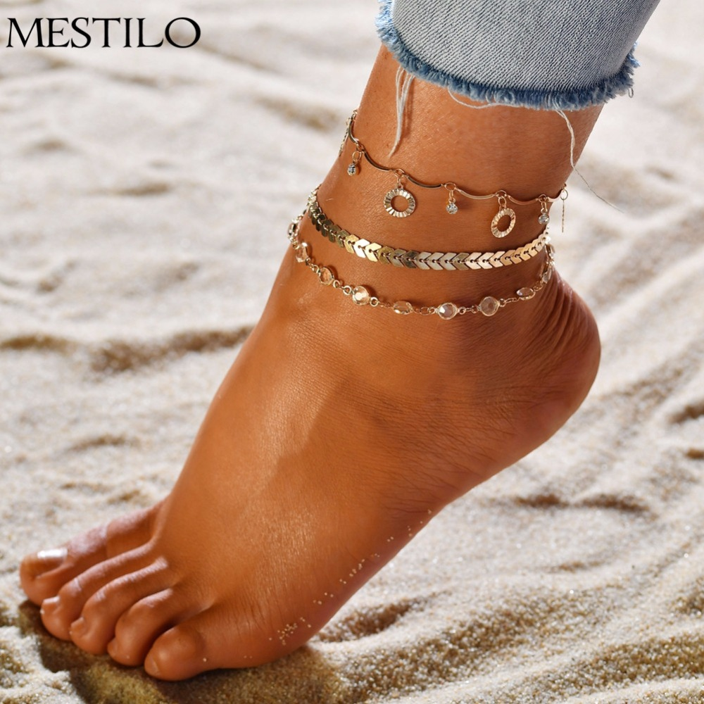 19cm Tassels Crystal Rhinestone Bead Chain Ankle Bracelet Anklet Foot Jewelry