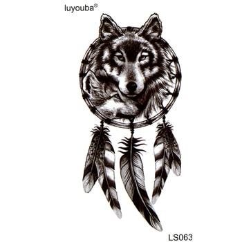 Black Wolf Waterproof Temporary Tattoos Men harajuku Beauty animal tatouage  tatoo kids stickers Halloween Feather Henna Tattoo