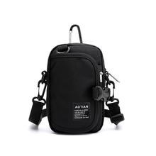 Мужская маленькая сумка на плечо Водонепроницаемая нейлоновая портативная Повседневная дорожная сумка для телефона сумка для карт Противоугонная Мужская мини сумка через плечо черная