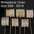 Factory Price 10yards per Roll SS6 to SS18  Sew On/glue on clear/crystal Rhinestone Gold base claw close cup Chain diy trimming