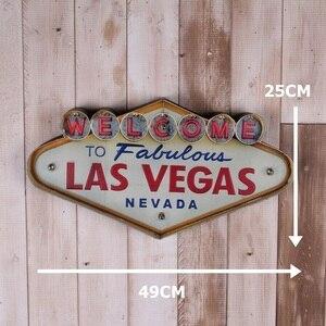 Image 2 - Las Vegas Hoan Nghênh Bạn Đã Neon Ký Cho Thanh Vintage Trang Trí Nhà Tranh Chiếu Sáng Treo Kim Loại Dấu Hiệu Sắt Quán Rượu Cafe Treo Tường Trang Trí
