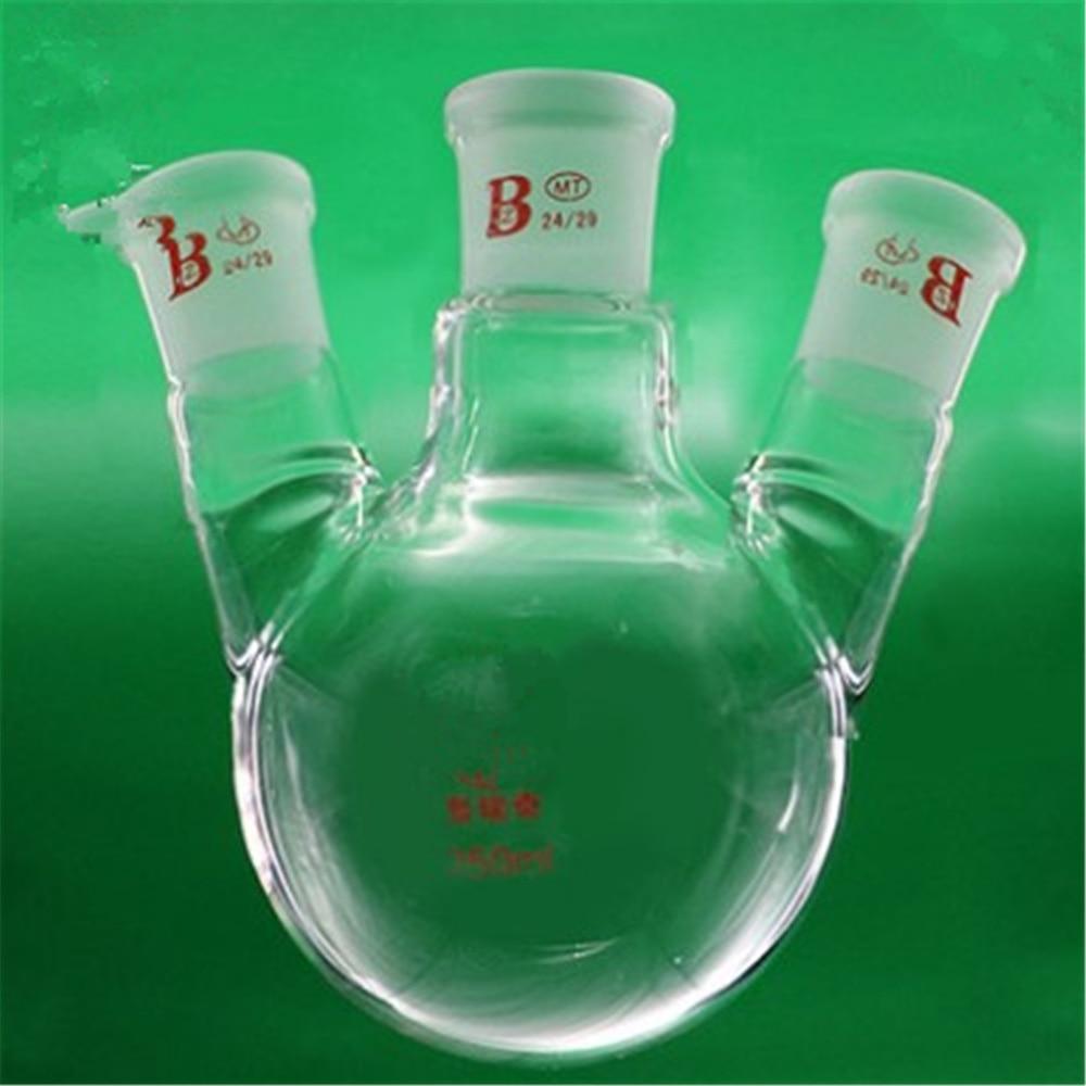 250ml,24/29*3,3-neck,Round bottom bevel connect Glass flask,Lab Boiling Flasks,Three neck laboratory glassware 1pc lot 150ml 250ml 500ml round bottom glass distillation flask for lab glassware