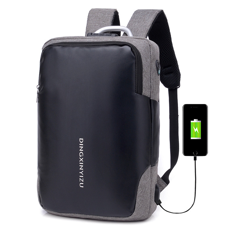No <font><b>Key</b></font> Anti Theft <font><b>TSA</b></font> Lock Fashion Men Backpacks 15.6inch USB Charging Laptop Male Mochila 18L College School Backpack for Boys image
