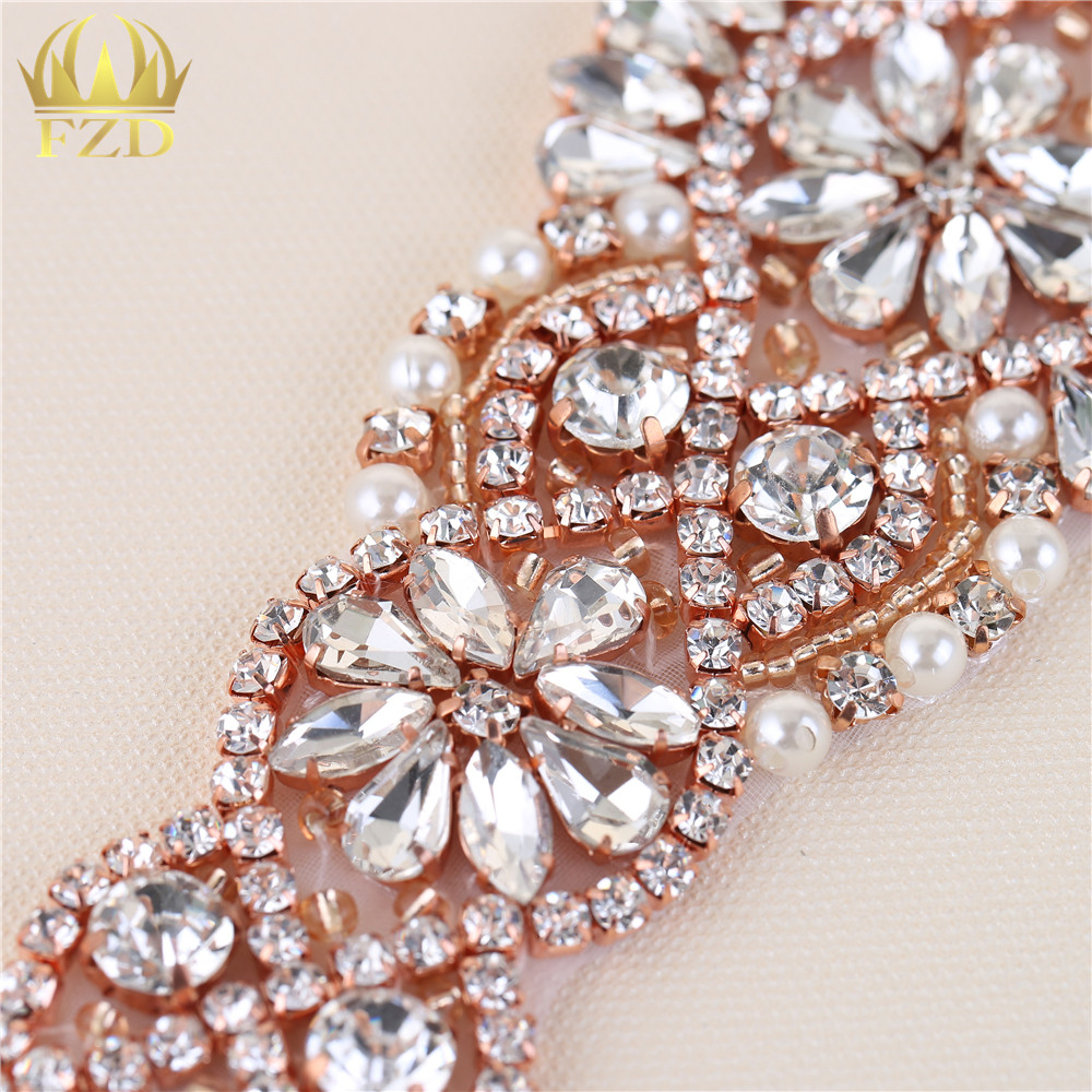 ... (30pieces) Wholesale Handmade Hot Fix Rose Gold Rhinestones Applique  Iron Sew ... a530ac7b57f1