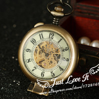 2015 Special Vintage Bronze Men S Manual Mechanical Pocket Magnifying Glass Function Cover Pierced On The
