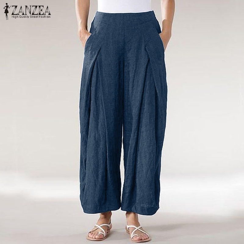 2019 Plus Size ZANZEA Pleated Wide Leg Pants Summer Women Casual Elastic Waist Vintage Solid Pantalon Trousers Female Palazzo