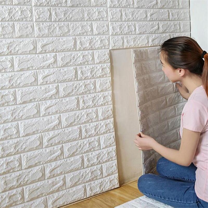 70*77cm 3D PE Foam Stone Brick Panel Wall Sticker Home Decor Living Room TV Sofa Wall Art Mural Kids Safty Self-adhesive Poster