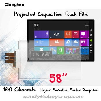 """Obeytec 58"""" Transparent Interactive Touch Film, 10 touch points, Flexible Foil, SIS controller, Customize Size, Factory OEM"""