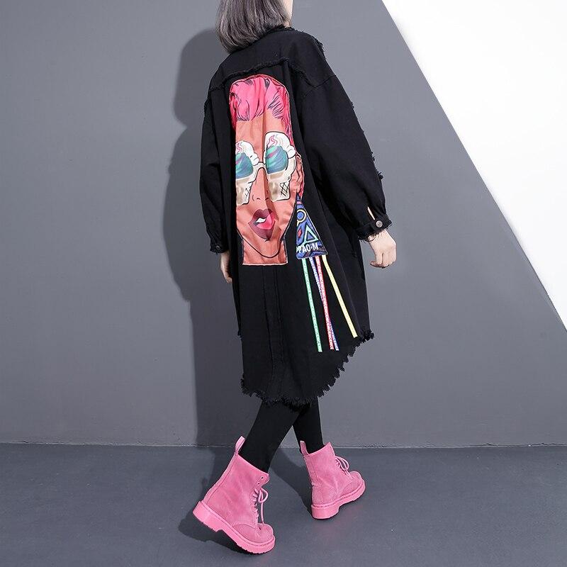 Femmes Automne Jean Manteau Punk Dy117 Noir Denim Outwear 2018 Printemps Ulzzang Usage Rock Vêtements Tranchée Déchiré Externe 0Pwk8nOX