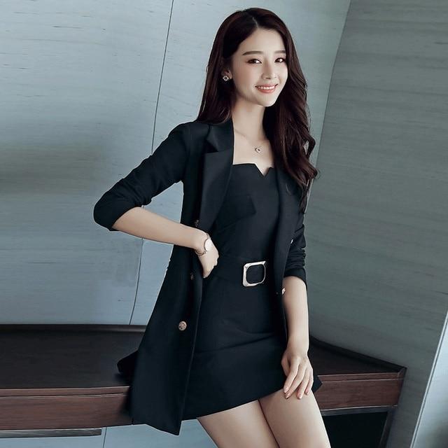 Autumn Business Suit Elegant Office Dress Lady Work 2 Pieces Set Long Sleeve Blazer and Sleeveless Dress Suit Set 4