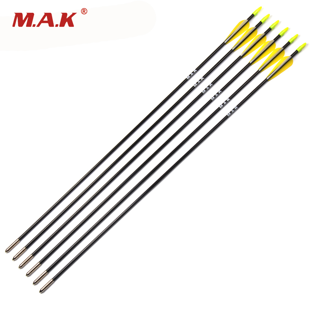 6/12/24 Pcs Spine 700 Fiberglass Arrows OD 7mm Length 30 Inches For Compound Bow Archery Shooting Hunting Practice