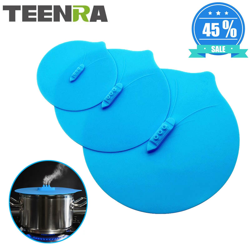TEENRA 3PCS Silicone Steam Ship Pot Lids Pressure Cooker Lid Seal Silicone Cover For Pan Silicone Lid Spill Stopper Kitchen Tool