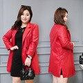 Женская Мода Новый Черный Красный Плюс Размер 6XL Slim Fit одной Кнопки Искусственной Кожи Длинный Кожаный Пиджак Траншеи Мотоцикл Пальто женский