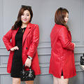 Women Fashion New Black Red Plus Size 6XL Slim Fit Single Button Faux Leather Long Leather Jacket Trench Motorcycle Coat Female