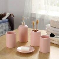 Solid Ceramic Bathroom Accessories Set Inclu Toothbrush Holder Dish Soap Dispenser Kit Bathroom Decoration Accessories