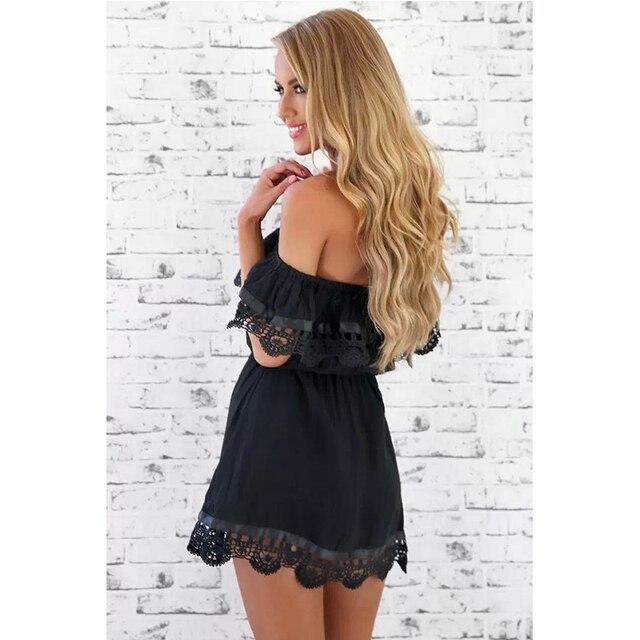 MOARCHO 2017 New Style Summer Women White Lace Stitching Dress Off Shoulder Strapless Sexy Dress Slash Neck Mini Dresses Vestido