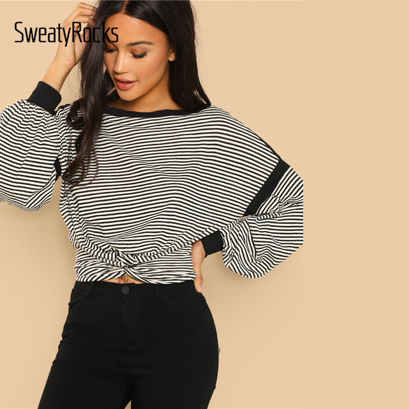 92877ffdddfa1c SweatyRocks Casual Black and White Striped Twist Front Pullover Bishop  Sleeve Boat Neck 2018 Autumn Lady