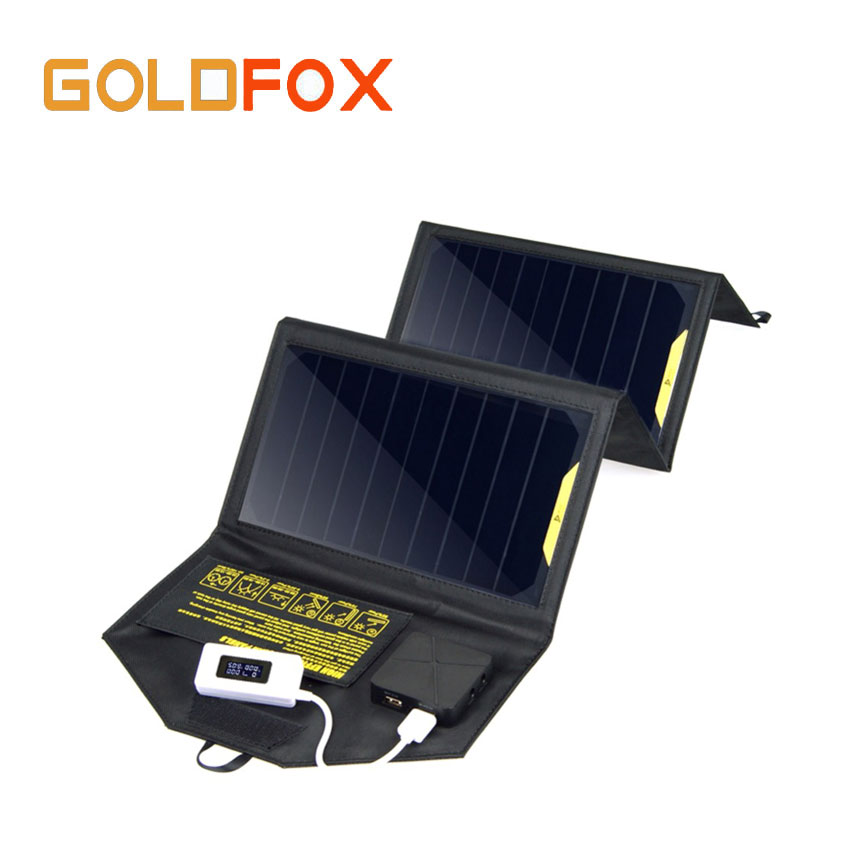 GOLDFOX Outdoor 5V 20W Dual USB Foldable Solar Panel Power Bank for Digital Camera GPS Camping Charger Pack for cellphones