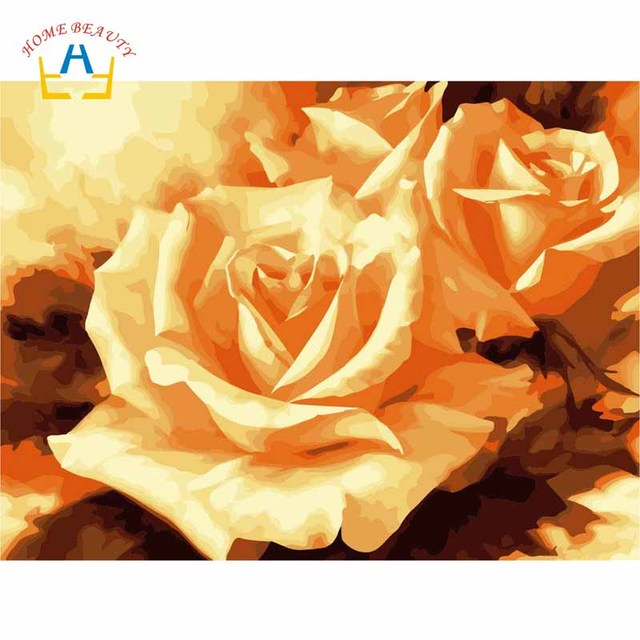Bunga Mawar Gambar Untuk Menggambar Mewarnai Dengan Angka Di Kanvas