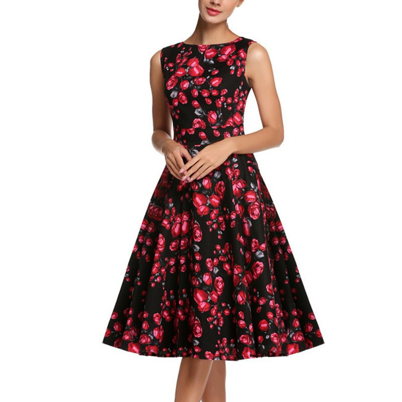 iiiher Boutique Store 2016 Women Summer Dresses 50s Robe Vintage Rockabilly Vestidos Rose Floral Print Retro Swing Pin Up Clothing