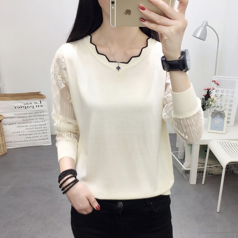 OHCLOTHING 2019New Lace Sweater Female Bottom Blouse Long Sleeve Loose Spring New Thin Knitted Blouse Blouse Trend