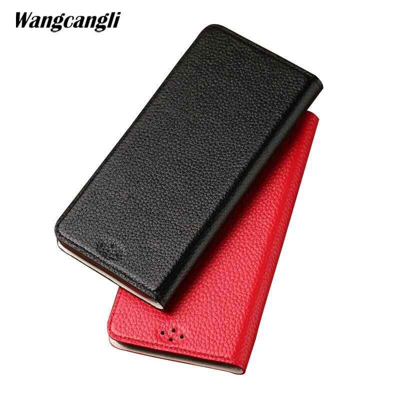 Wangcangli En Cuir Véritable étui pour téléphone portable étui pour huawei P20 Pro litchi texture étui de protection étui pour téléphone d'affaires