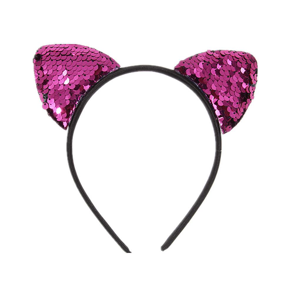 かわいいフリップスパンコール猫耳少女ヘアバンド髪のフープ子供女性猫耳ヘアバンドハロウィーン頭飾りギフト