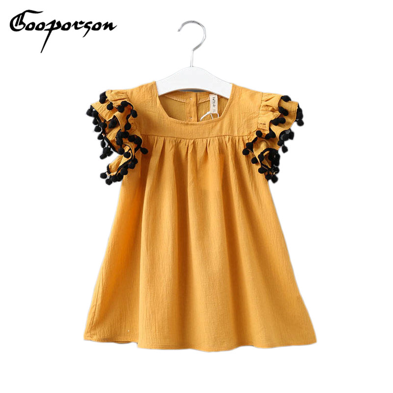 Girls Clothes Summer Autumn Blouse Shirt Solid Tops For Kids Girl With Ball Fashion Shirt Lovely Shirt 2-6Year Old kids Clothing