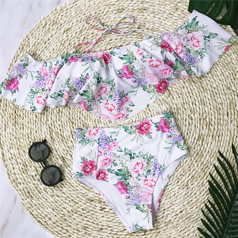2018 New Lotus Leaf Bikinis Sexy Women Off Shoulder Push-up Padded Bikini Set Swimsuit Floral Printing Bandage Triangle Swimwear