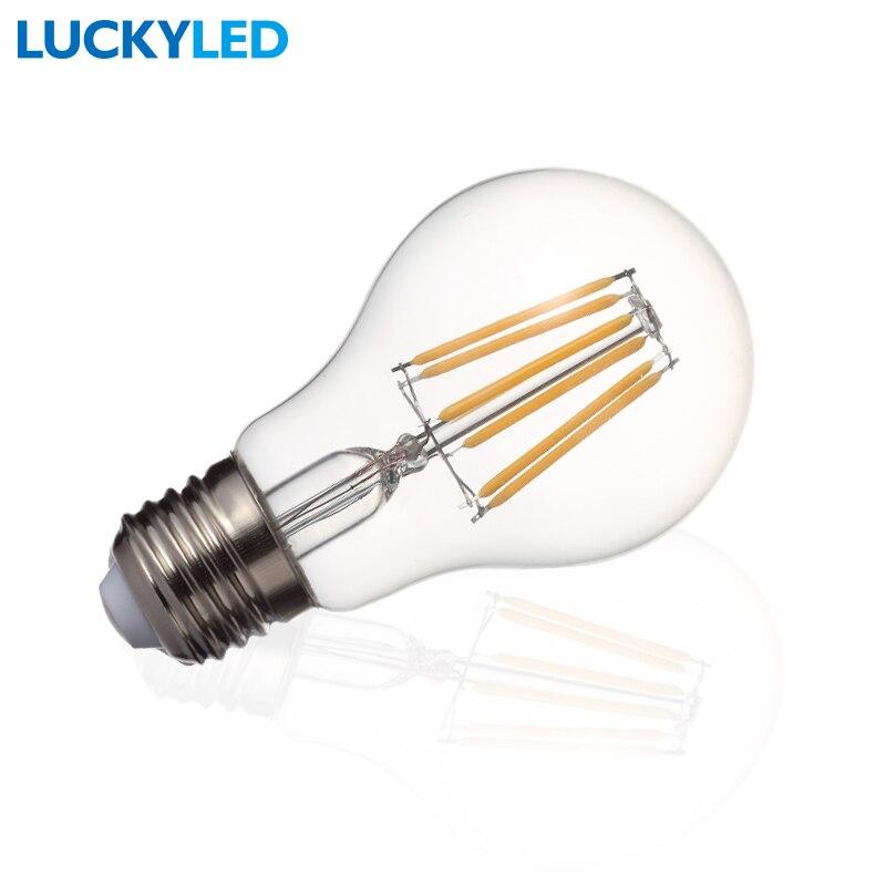 LUCKYLED Brand LED Filament bulb lamp E27 6W A60 AC85-265V Glass shell vintage edison led light 5pcs e27 led bulb 2w 4w 6w vintage cold white warm white edison lamp g45 led filament decorative bulb ac 220v 240v