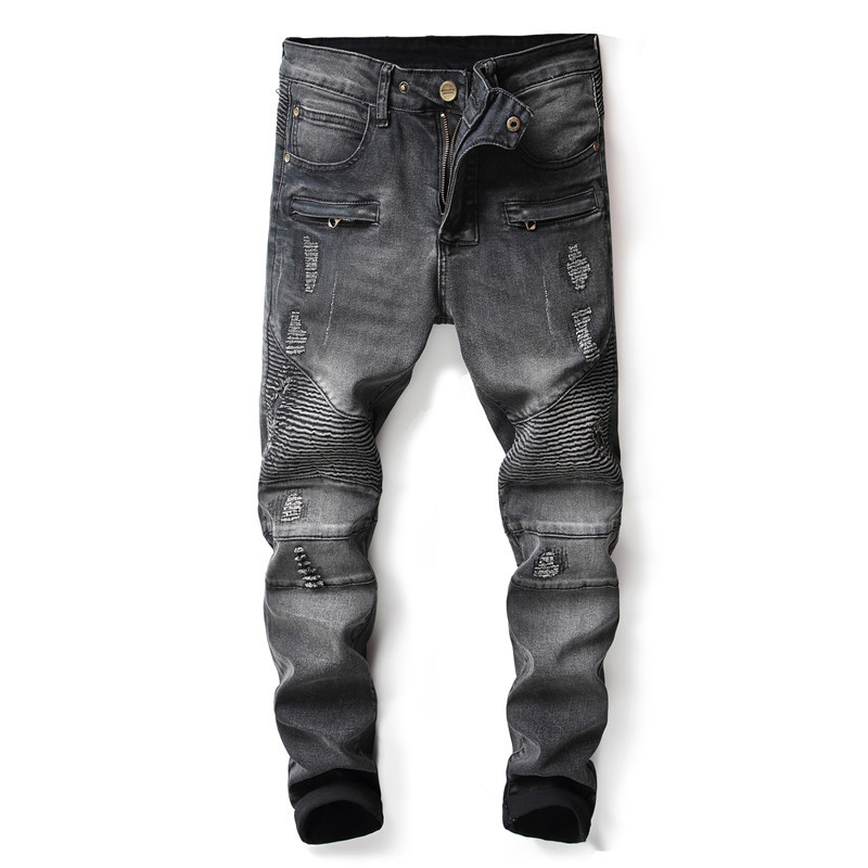 Mens Straight Denim Pants Clothes Ripped Ripped Jeans For Men Black Slim Vintage Skinny Jeans Men Vintage Distressed Jeans Homme