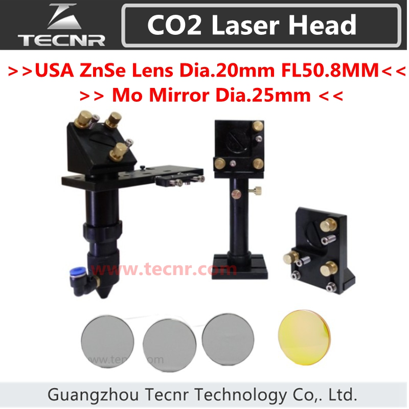 CO2 laser head & Reflective Mirror Mo 25mm & Focus Focal Lens 20mm FL 50.8MM for laser machine free shipping laser machine focus lens diameter 25mm fl 101 6mm