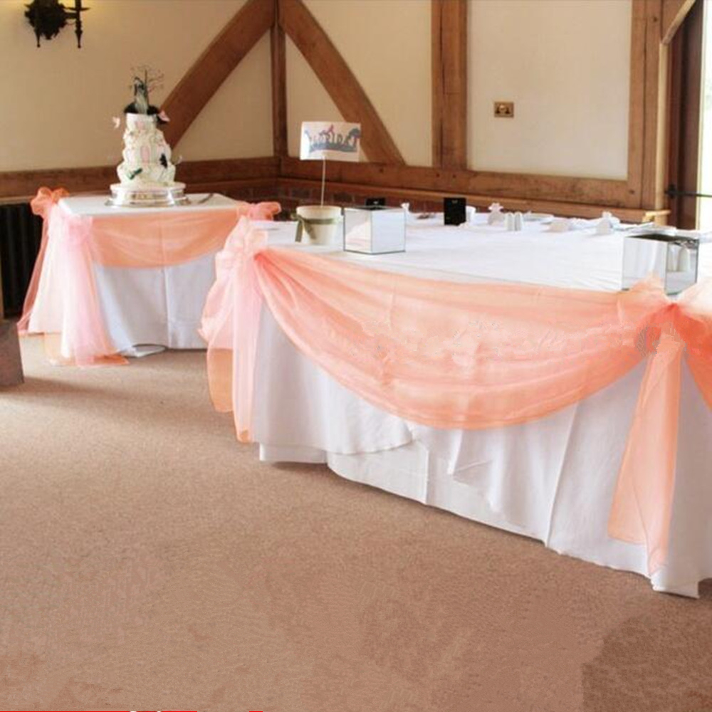 10 m * 1.35 m Cor Pêssego Pura Presa Organza Ganhos DIY Tecido Para decoração De Casamento, cortina de pano de fundo e decoração de mesa