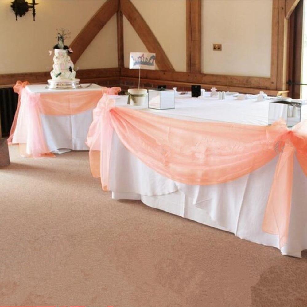 10 M * 1.35 M Peach Colore Puro Swag DIY Organza Swag Tessuto Per decorazione di Cerimonia Nuziale, scenografia tenda e decorazione della tavola